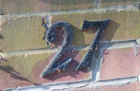 House number 27 sign